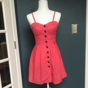 Pink linen button down dress
